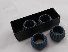 Villeroy & Boch handmade 4 x dark blue boxed napkin rings Christmas NEW