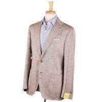 NWT $1525 G.ABO NAPOLI Brown Herringbone Silk Sport Coat Slim 40 R Gabo