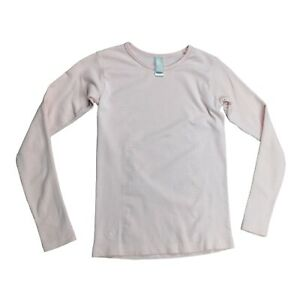 Athleta Girl Size 7 / Small Pink Stretchy Knit Long Sleeve Top Gold Metallic