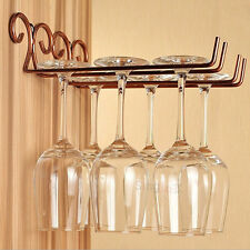 Vintage Wall Mount Stemware Hanging Wine Glass Rack with Screws Home Decoration