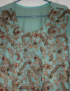 Women's stone work Suit Indian, Pakistani  Design STITCHED  size XL