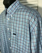 Faconnable Mens L Long Sleeve Button Front Shirt Blue Pink Plaid Cotton USA Made