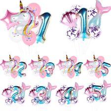 Mermaid Rainbow Unicorn Foil Balloon Number Birthday Party Decorations Kids