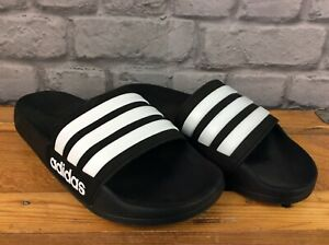 ADIDAS MENS ADILETTE CLOUDFOAM CORE BLACK CLOUD WHITE SLIDES SLIDERS SANDALS