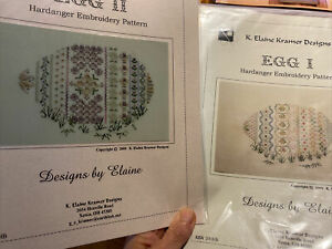 2 Easter Egg Needlepoint, Hardanger by K Elaine Kramer Designs, EGG 1 & EGG 2.