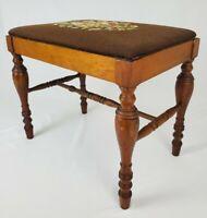 Vintage Needlepoint Vanity Piano Bench Mahogany Wood Federal Victorian Style