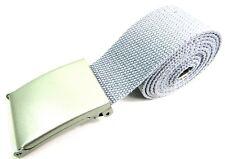 Unisex Calidad Nuevo Tela de Algodón Liso Banda Cinturón Hebilla Plata a  96.5cm cad86738afb6