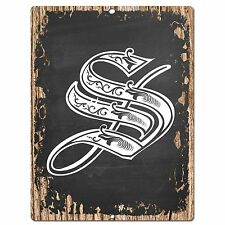 PP0490 Alphabet Initial Name Letter S Chic Sign Bar Shop Store Home Room Decor
