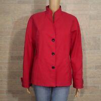 Linda Allard Ellen Tracy Misses 12 Dark Berry Pink Cotton Canvas Blazer Jacket