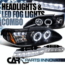 94-98 Ford Mustang Black Halo Projector Headlights+6-LED Bumper Fog Lamps