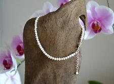 """Cultured Freshwater White Pearl & Italian .925 Silver Ankle Bracelet ~ 9"""" to 11"""""""