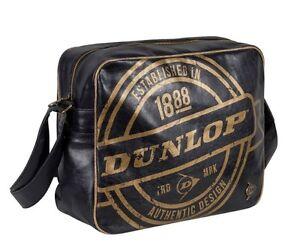 Dunlop Stamp Flight Messenger Bag Laptop Bag Black Gold New