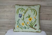 """Needlepoint Pillow Butterfly with Woodland Flowers 15"""" Square"""