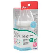 PIGEON Peristaltic plus NURSING BOTTLE 160ml BPA FREE 0+ month SS teat WIDE neck