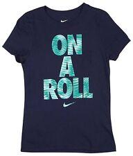 NWT Nike Girls' ON A ROLL Short-Sleeve Navy Tee Shirt 843936/410