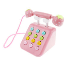 Kids Pink Wooden Telephone Pretend Play Toy Baby Toddler Educational Toys