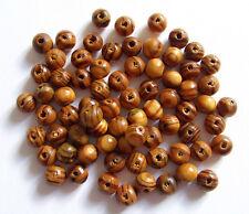 100pz perline in legno naturale tondo 8mm  colore marrone bijoux