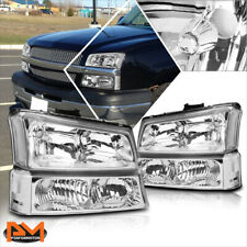For 03-06 Chevy Silverado/Avalanche Bumper Headlight/Lamps Clear Corner Chrome