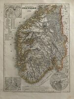 1849 SOUTHERN NORWAY ORIGINAL ANTIQUE HAND COLOURED MAP BY JOSEPH MEYER