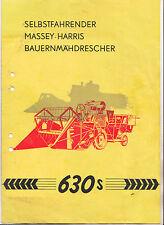 Prospekt Selbstfahrender Massey Harris Mähdrescher 630s Landwirtschaft 1956 !