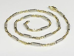 """10k Two Tone Gold Mens Handmade Chain Necklace 20"""" 5 MM. 40 Grams"""
