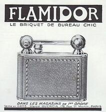 PUBLICITE  BRIQUET DE BUREAU FLAMIDOR   LIGHTER    AD  1938 -1H