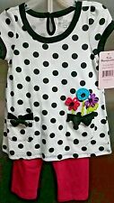 Girls Dress Outfit Black Polk a Dot Flowers, pink Legging Kids Headquarters 3T