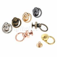 5Pcs Ball Post With O ring Rivet Stud Nail Round Head Screw Back Leather Craft