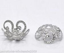 500PCS Wholesale Lots Silver Tone Flower Bead Caps Findings 10x4mm GW