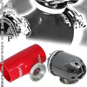 "Turbo Blow Off Valve Jdm Bov Carbon 3"" Inch Reinforce Silicone Adapter Pipe Red"