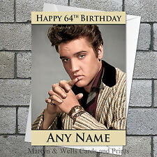 Elvis Presley birthday card. 5x7 inches. Personalised, plus envelope.
