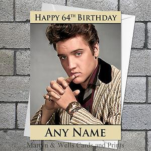 Elvis Presley birthday card. 5x7 inches. 50s Rock n' Roll. Personalised.