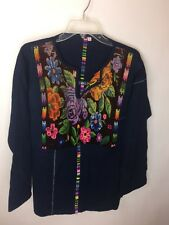 VINTAGE HANDMADE Embroidered Mexican Quilted Floral Denim Tunic Top Shirt Size L