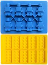 Lot 2 Lego Man + Lego Block Style Ice Cube Tray Ice Mold Maker Bar Party Drink