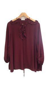 Scanlan Theodore Burgundy Silk Blouse Size 8