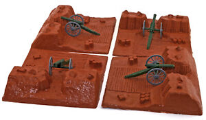 BMC - 4 Earthen Redoubts and 4 Cannon - unpainted 54mm toy soldier accessories