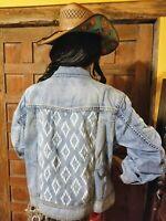 $150 Ryan Michael Women's Indigo Jean/Denim Jacket-Aztec/Southwestern/Western XL