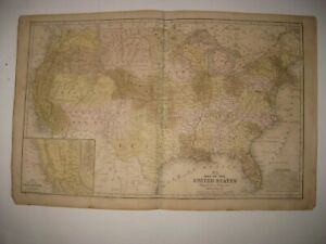 ANTIQUE 1852 UNITED STATES MAP TERRITORY CALIFORNIA GOLD REGION TEXAS FLORIDA NR