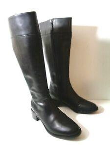 COLE HAAN WMNs 8M* 8.5M Black Leather Knee High Side Zip Boots Low Heel