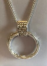 """Silver Tone 32"""" Triple Layered Cubic Zirconia Circles Necklace (A455)"""