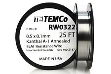 TEMCo Flat Ribbon Kanthal A1 Wire 0.5mm x 0.1mm 25 Ft Resistance A-1