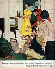 1953 U.S. Beer Brewers world series on tv John Falter art retro print ad  adL27