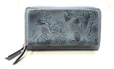 NWT Firenze Bella Tooled Genuine Leather Double Zip around Wallet RFID Block