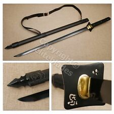 Musashi Hand Forged Functional Straight Blade Ninja Katana Sword Sharp +Stand
