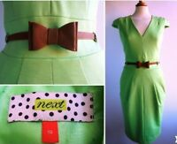 NEXT Green Pencil Dress Faux Leather Skinny Waist Belt Size 10 or 12