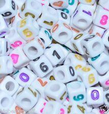 100pcs Cubo Blanco + Colorido número & Corazón, # Perlas 7mm