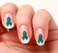 20 Nail Art Decals Transfers Stickers #625 - Cancer support  teal ribbon