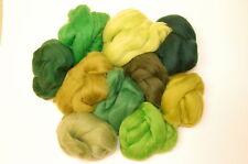 Green Merino Wool roving / tops - 10 woodland hues wet felting needle felting