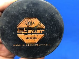 NHA BAUER APPROVED MADE IN CZECHOSLOVAKIA OFFICIAL HOCKEY PUCK