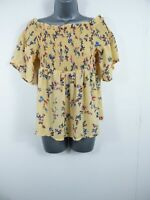 WOMENS COLLECTION PIMKIE YELLOW FLORAL OFF THE SHOULDER BLOUSE TOP MEDIUM M